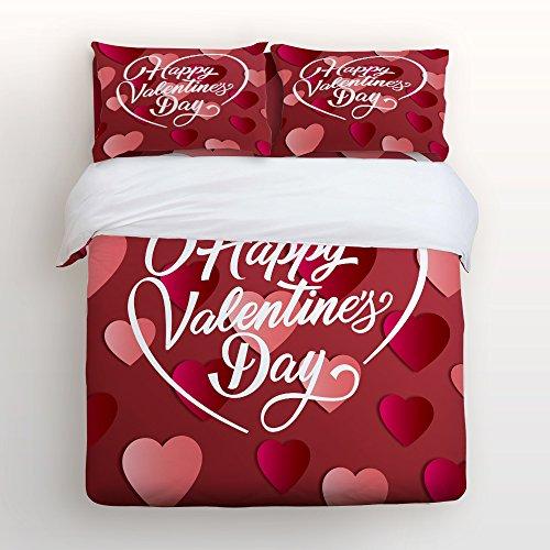 Ultra Soft 4 Pcs Modern Luxury Bedding Heart-Shaped Pattern Lover Valentine's Day Home Comforter Bedspread Duvet Cover Set Twin Size By KAROLA