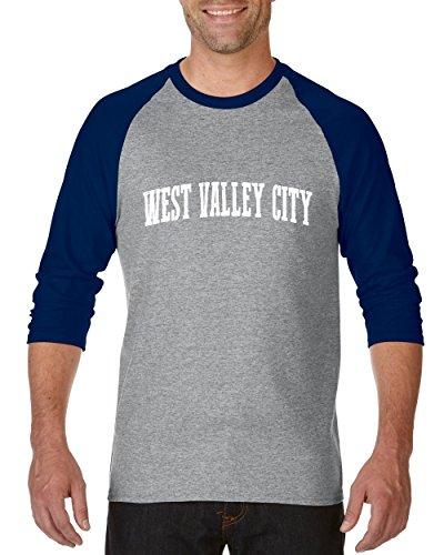 NIB West Valley City UT Utah Salt Lake City Map Home Of Aggies Utes Raglan Sleeve Baseball T-Shirt ()
