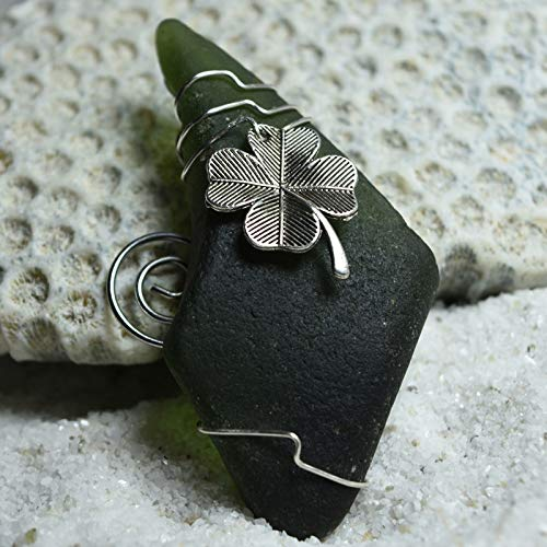 Custom Surf Tumbled Sea Glass Ornament with a Silver Irish Shamrock Charm - Choose Your Color Sea Glass Frosted, Green, and Brown.
