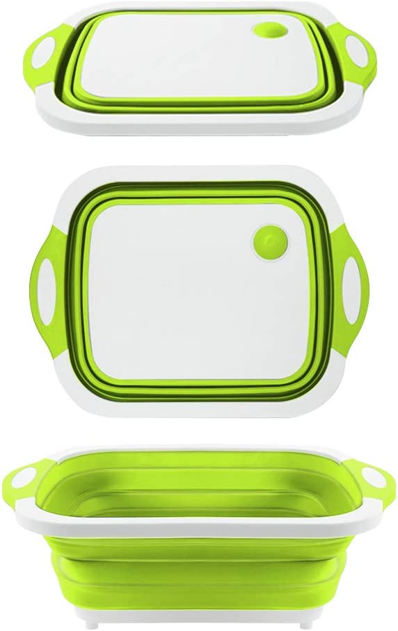 QiMH Collapsible Cutting Board - Portable Washing Veggies Fruits Food Grade Camping Sink (4.25 Gal) with Draining Plug - Foldable Multi-function Kitchen Plastic Silicone Basin