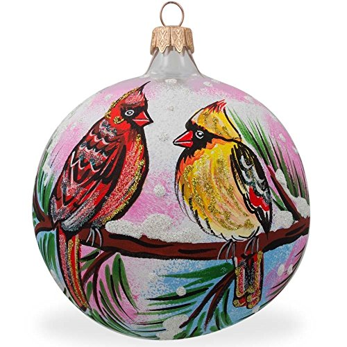 Cardinals Hand Painted Ball Ornament - BestPysanky Two Cardinals in Winter, Bird Glass Ball Christmas Ornament 3.25 Inches