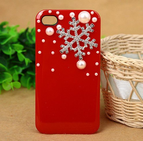 4s Hard Back Case - 3D Crystal Christmas Snow Snowflake Hard Back Case Cover Pearls for iPhone 4/4s