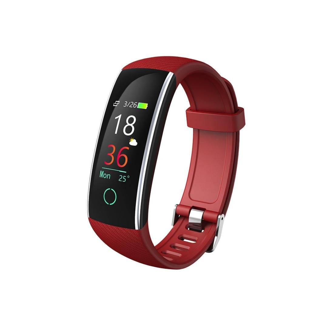 Color Screen Fitness Tracker,Sunfei 2018 IP68 Waterproof Smart Blood Pressure Exercise Heart Rate Pedometer Activity Smart Watch Tracker Bluetooth for Android & IOS (Red)