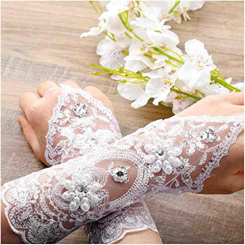 (CanB Women's Wedding Lace Fingerless Crystals Gloves for Wedding Party Prom Brides Accessory (White)