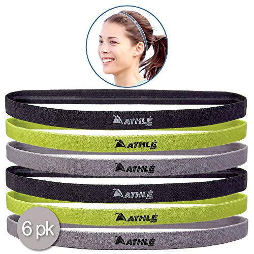 (Athlé Skinny Sports Headbands 6 Pack - Men's and Women's Elastic Hair Bands with Non Slip Silicone Grip - Lightweight and Comfortable Sweatbands Keep You Cool and Dry - Black, Green, Grey)