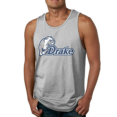 Men's Drake Bulldogs Logo Tank Top-Ash ()