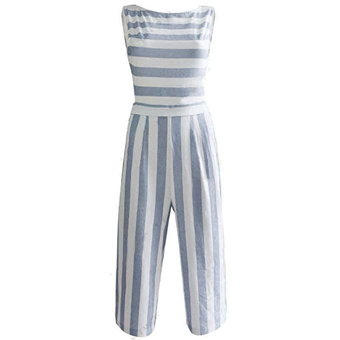 b7fe512fe31 Amazon.com  RAISINGTOP Women Sleeveless Striped Jumpsuit Casual Clubwear Wide  Leg Romper Long Pants Casual Loose  Clothing