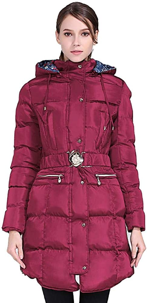 Women Puffer Long Coat Slim Fit Hooded Jacket Windproof Parkas for Outdoor Winter