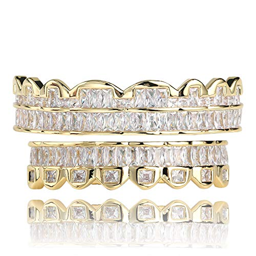 (TOPGRILLZ 14K Silver Plated Custom Baguette Iced Out Top and Bottom Grills for Your Teeth Hip Hop Men Accessory (Gold Top and Bottom))