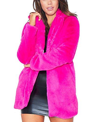 Women's Winter Warm Lapel Collar Persian Lamb Faux Fur Coat Stylish Long Cardigan Jacket Outwear Rose Red, (Persian Lamb Fur Coat Jacket)