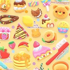 Pegatinas blandas oso comida tortita bagel Q-Lia Japón