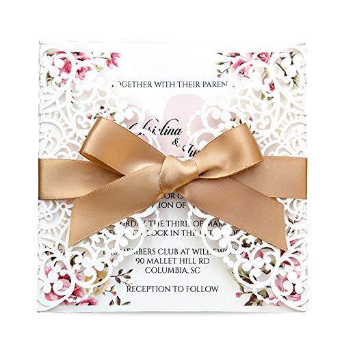 Doris Home Square Wedding Invitations Cards Kits Fall Bridal, Baby Shower Invite, Birthday Invitation Wedding Rehearsal Dinner Invites, Autumn Engagement Bach with Gold Bowknot Hollow,50pcs (Diy Wedding Invitation Kits)