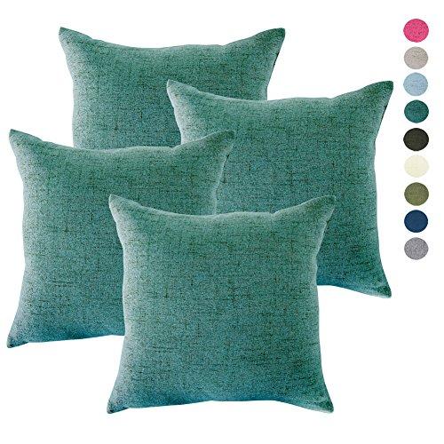4PCS Throw Pillow Covers Coastal Cushions Fine Faux Linen Ho