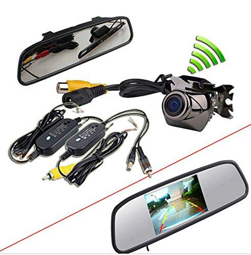 BW 10,92 cm Auto TFT LCD Monitor Spiegel + Rückfahrkamera Funk Rückfahrkamera Einparkhilfe Wasserdicht gewendeter CCD Kamera Kit