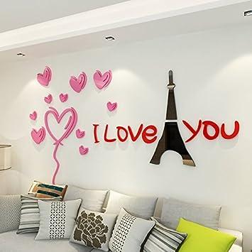 Wall Sticker Romantische Paris Crystal Acryl 3d Wohnzimmer Hintergrund  Schlafzimmer Mit King Size Bett Warm Und