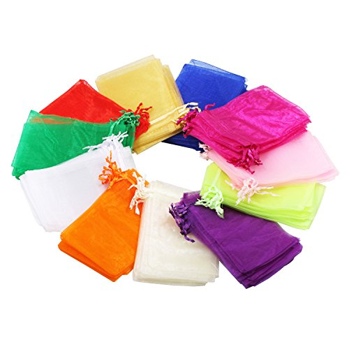 100Pcs Mix Color Sheer Drawstring Organza Jewelry Pouches Wedding Party Christmas Favor Gift Bags (5X7)