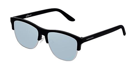 Hawkers Diamond Black Blue Chrome. Classic Flat , Gafas de Sol Unisex, Negro/Azul