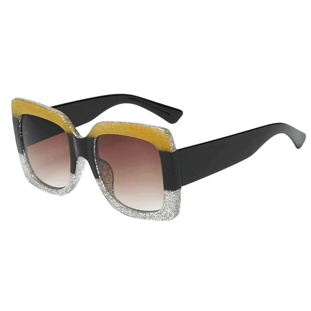Reaso Lunettes de Soleil Oversized Carr/é Luxe Pente Lentille Vintage Sunglasses Femmes Mode Voyageur Classiques Retro Fashion Polaris/ées R/éfl/échissantes UV400 Pour Femmes