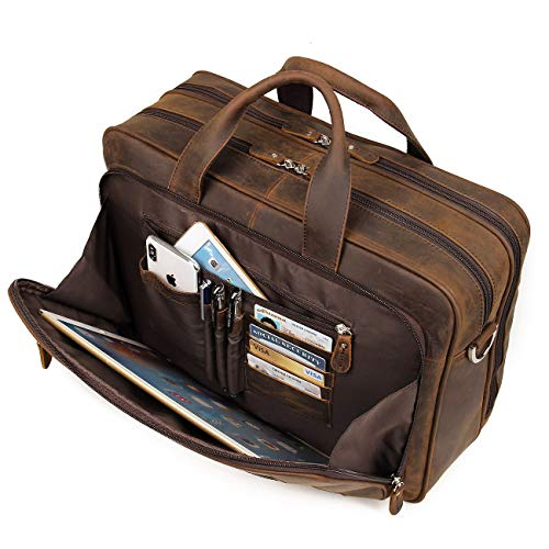 Augus Business Travel Briefcase Genuine Leather Duffel Bags for Men Laptop Bag fits 15.6 inches Laptop (Dark ()