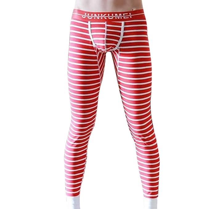 Hibote Pantalones Térmicos para Hombre - Imprimir Largo Delgado Stretch Leggings Cómodo Algodón Ropa Interior Invierno