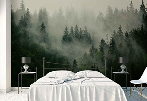 - Photo wallpaper wall mural - Forest Fog Nature - Theme Forest & Trees - XL - 12ft x 8ft 4in (WxH) - 4 Pieces - Printed on 130gsm Non-Woven Paper - FW-1116V8