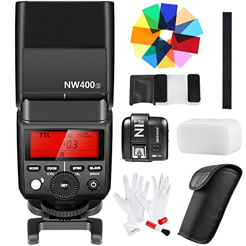 Neewer 2.4G Wireless 1/8000s HSS TTL GN36 Flash Speedlite Master/Slave with N1T-S Trigger,12 Color Filters,Cleaning Kit for Sony A7 A7R A7S A7II A7RII A7SII A6000 A6300 A6500 A58 A99 Cameras(NW400S)