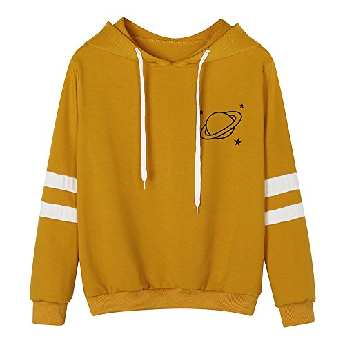 Teen Girls Hoodies Casual Loose Long Sleeve Striped Print Sweatshirt Tops for Women by Chaofanjiancai (L, Z-Yellow)