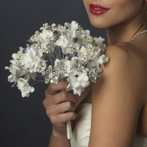 RaeBella Weddings Elegant Ivory and White Bling Pearl & Rhinestone Fabric Floral Bridal Bouquet