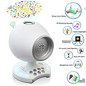 White Noise Sleep Sound Machine, Night Light Baby Soother Ceiling Projector, Nature Sounds Lullaby Nursery Rhyme, Auto-Off Timer, Headphone Jack, Battery Powered, Portable Travel Office Bedroom Crib
