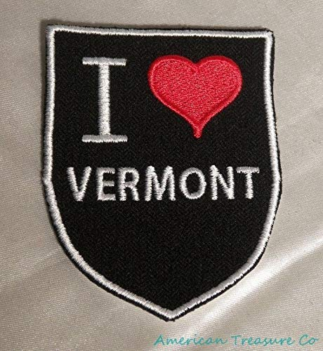 Embroidered Retro Vintage Style I Love Vermont VT State Pride Patch Iron On USA