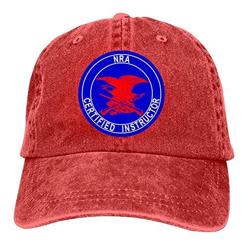 GIDIGOU Unisex America NRA Certified Instructor Vintage Sun Cowboy Snapback Hat Dad Running Baseball Caps Red