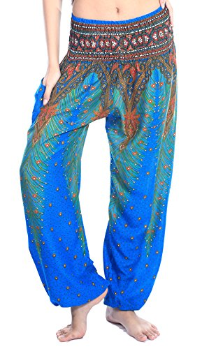 Womens Elephant Light (Boho Vib Women's Rayon Print Smocked Waist Boho Harem Yoga Pants (Small/Medium, Peacock 1 Light Blue))