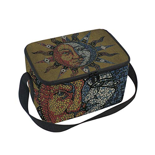 Adult Lunch Box Insulated Lunch Bag Large Cooler Tote Bag For Men and Women, Vintage Celestial Mosaic Sun Moon