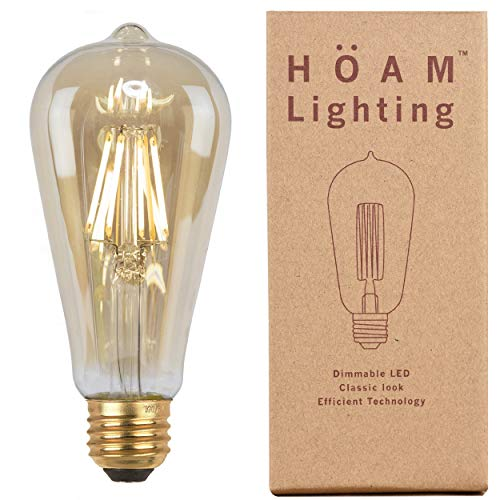Edison Bulb from HOAM Lighting, Dimmable LED Filament, Antique Style, 4W LED 40W Incandescent Equivalent 2700K Warm Amber Color Temperature, ST18 ST64, E26 E27 Screw Cap, 120V