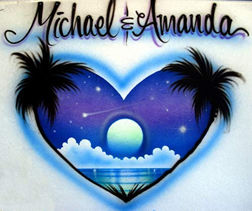 Airbrush Couple Beach Heart - Anniversary Gift - Adult T-Shirt - Custom Personalized with 2 - Airbrush Heart