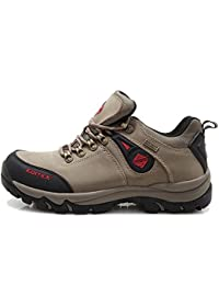 Mans Outdoor Hiking Boots Leather and Fabric Upper Rubber Outsole Five Color (GREY 6.5(M)US)