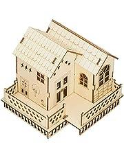 Christmas Village Wooden Miniatures Villa LED Lighted Christmas Village Houses with Luminous Light DIY Villa Model Craft Gift