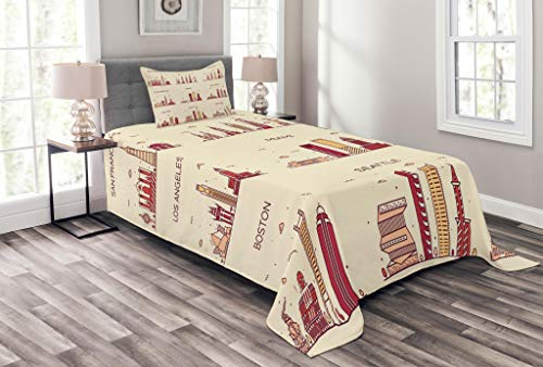 Lunarable USA Bedspread Set Twin Size, American Cities San Francisco York Chicago Los Angeles Miami Silhouettes, Decorative Quilted 2 Piece Coverlet Set Pillow Sham, Cream Red Mustard