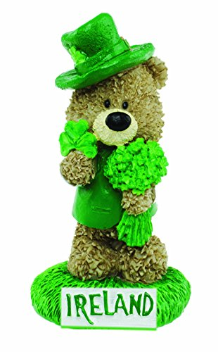 Carrolls Irish Gifts Paddy Bear Resin Ornament with Paddy Holding a Bunch of Clovers and a Shamrock