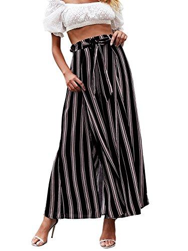 Simplee Women's Elegant Striped Split High Waisted Belted Flowy Wide Leg Pants, Black Stripe, 4/6, Small