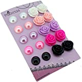 Faux Pearl & Rose Flower Clip On Earrings For Little Teen Girls Womens Gift