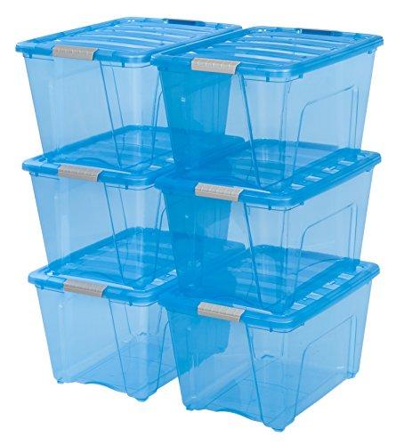 IRIS USA, Inc. TB-56D RIS 53 Quart Stack & Pull Box, Blue/Gray Buckle, 6 Count
