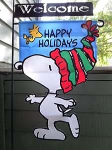 """Cacahuetes Snoopy y Woodstock... felices Fiestas... una cara Mini, bandera 12""""X 18"""""""