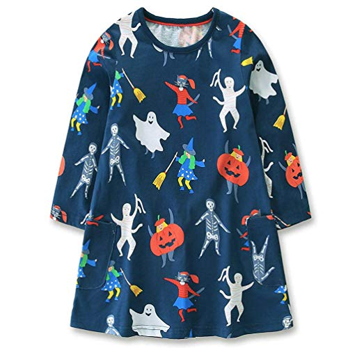 Dutebare Toddler Girls Halloween Dress Long Sleeve Tunics Casual Cotton Dresses Halloween 7