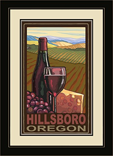 Northwest Art Mall PAL-0886 FGDM WC Hillsboro Oregon Wine Country Framed Wall Art by Artist Paul A. Lanquist, 16 by - Mall Hillsboro