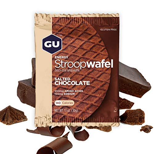 (GU Energy Stroopwafel Sports Nutrition Waffle, Gluten Free Salted Chocolate, 16-Count)