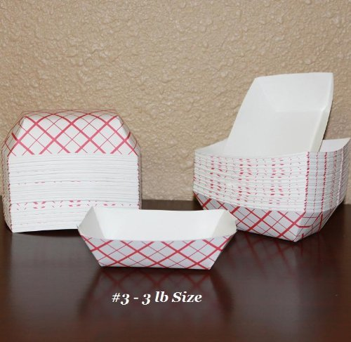 #3 Red Check Paper Disposable food trays - Microwaveable Plaid Dishes - Case of 500 by Southland