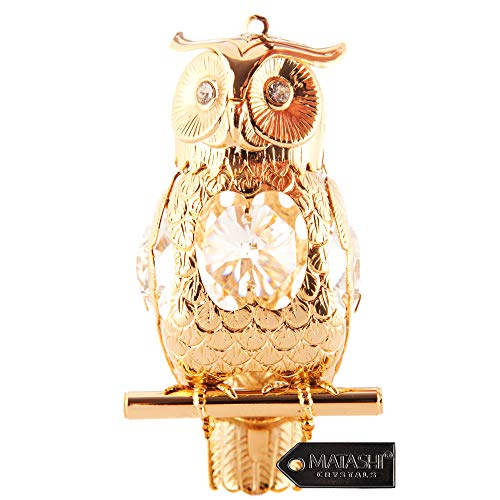 24K Gold Plated Highly Polished Owl Ornament Made with Genuine Matashi Crystals