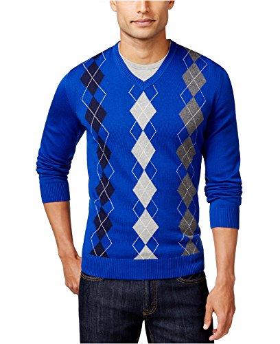 Club Room Royal Mens Large V-Neck Argyle Ribbed Sweater Blue L