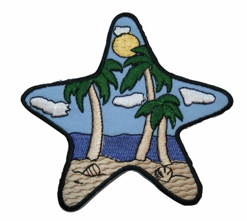 ID #1700 Star Fish Beach Palm Tree Embroidered - Iron On Palm Tree